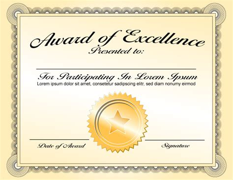 Best Classy Award of Excellence Certificate Template with
