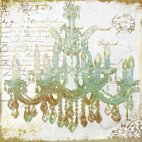 Chandelier Painting Teal And Gold Chandelier Painting By Sommers