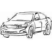 Monochrome Hand Drawn Car On White Background Black And