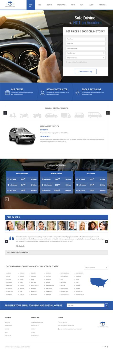 html5 themes adaptive best responsive driving school html5 templates in 2015
