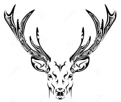 tribal pattern deer black ink popular abstract deer head tribal tattoo stencil