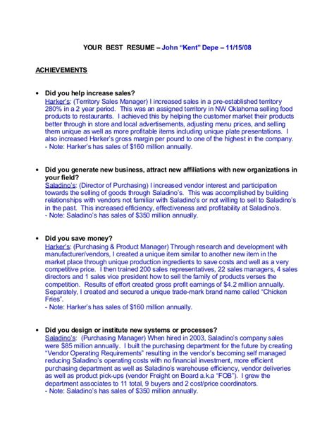 Sle Resume Key Accomplishments Exles Key Accomplishments