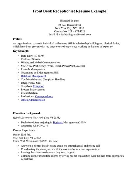 front desk receptionist front desk receptionist sle resume and office