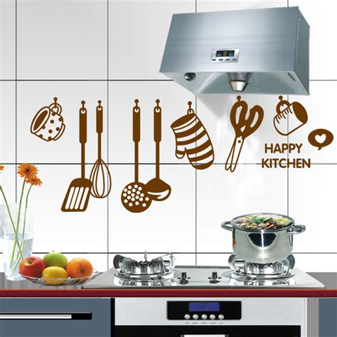 happy home decor home decor art happy kitchen cooking tools 6017 pvc mural