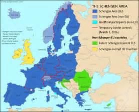 Color coded for eu schengen countries non eu schengen countries