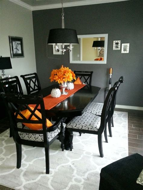 Orange And Grey Dining Room by Orange Grey Black Silver Dining Room Dining Room Ideas