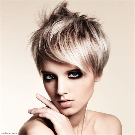sexy hair styel sexy short haircut with a long fringe silvery blonde hair
