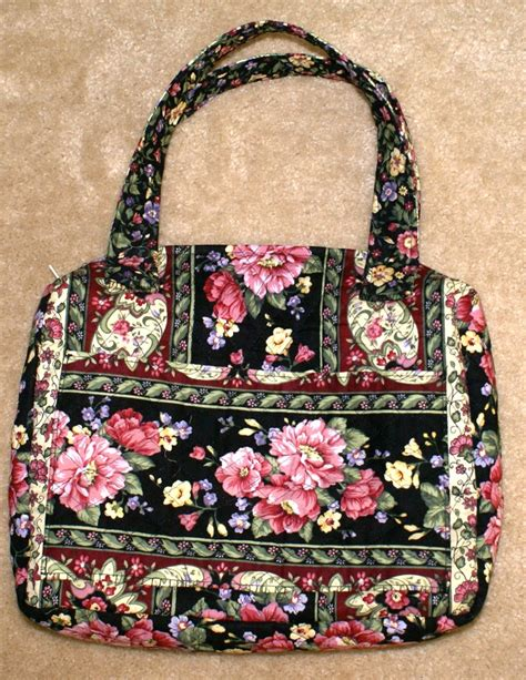 Handmade Quilted Bags - black w roses quilted carryall bag handmade handbags