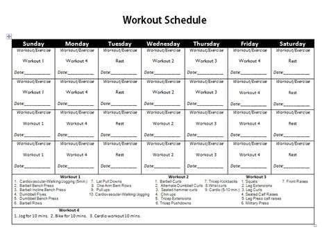 workout schedule home or routines for and