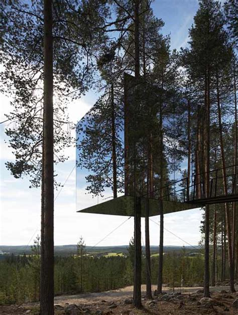 suspended swedish tree hotel reflects natural environment mirrorcube by tham videg 229 rd arkitekter dezeen