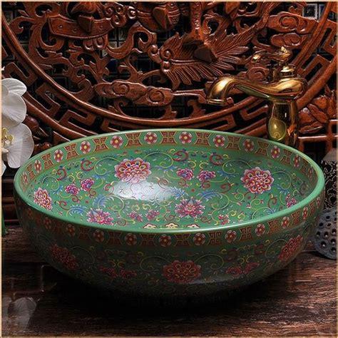 Handmade Ceramic Sinks - europe vintage style painting porcelain green