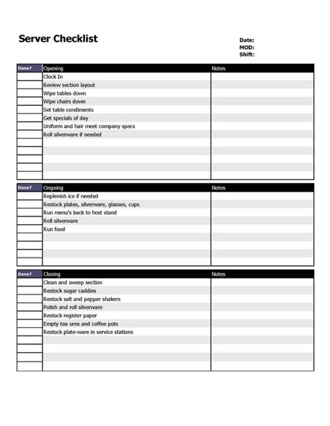 restaurant server checklist form organizing