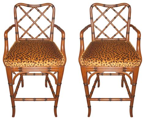 Leopard Print Bar Stools by Pair Of Faux Bamboo Stools With Faux Leopard Cushions