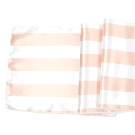 satin table runner rugby striped blush