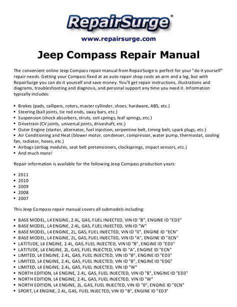 2011 Jeep Grand Owners Manual Jeep Compass Repair Manual 2007 2011