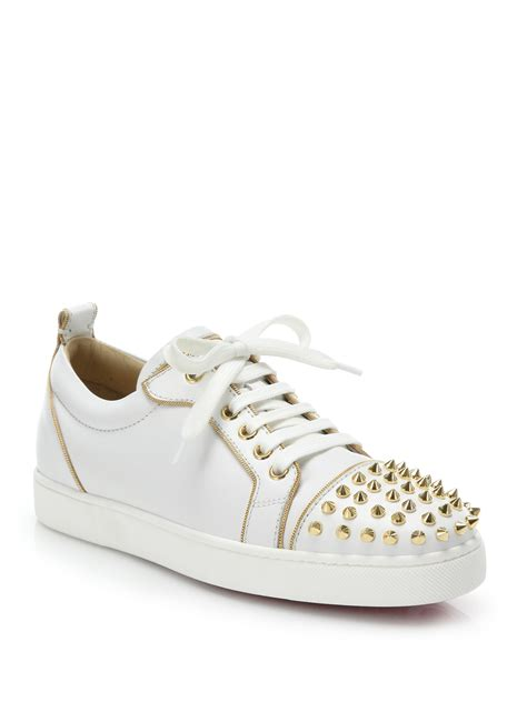 christian louboutin sneakers lyst christian louboutin studded leather sneakers