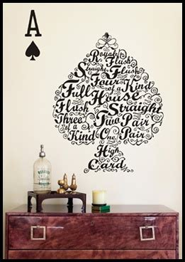 Supernice Wall Stickers Supernice Poker Hands Wall Decal Creative Crafts