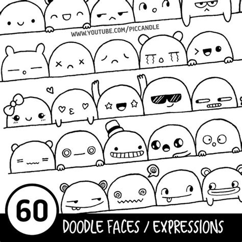 how to draw doodle pdf 60 doodle faces expressions printable practice sheets