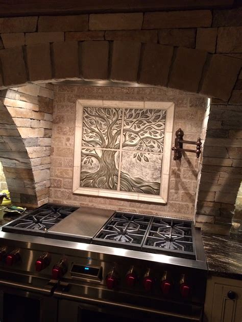 Handmade Tiles For Backsplash - handmade sgraffito carved ceramic backsplash tile the