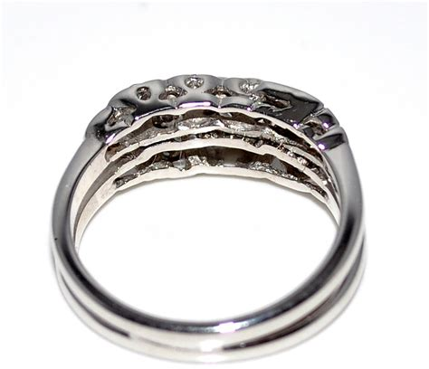wedding rings set 14k white gold 0 25ct two soldered