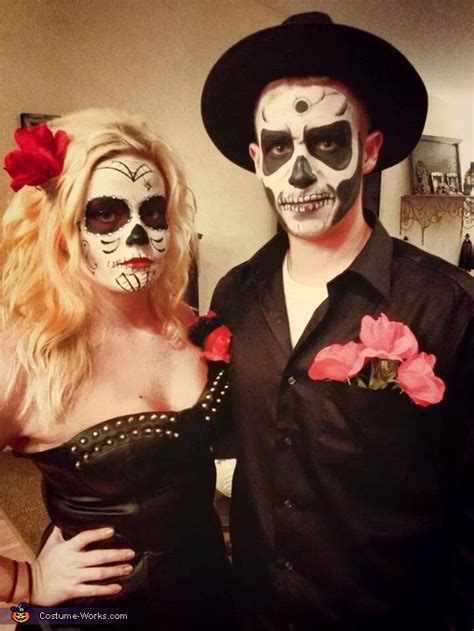 sugar skull  skeleton couples halloween costume