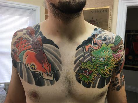 hand of doom tattoo koi chest panel by jon mirro at of doom