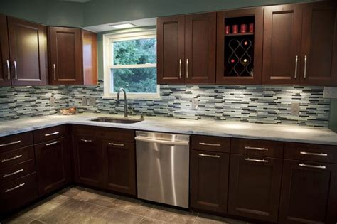 here is our newly remodeled kitchen with a blue glass