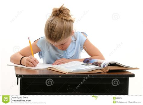 Child Doing School Work At Desk Stock Image Image Of Kid At Desk