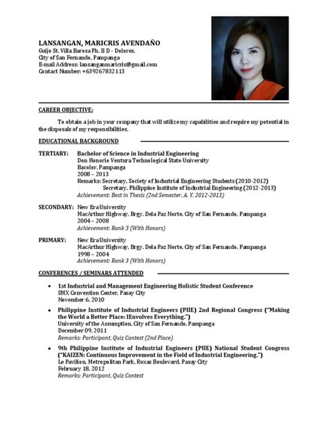 sle resume mechanical engineer philippines