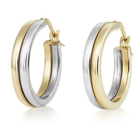 two tone gold 15mm hoop earrings swag uk jewellers