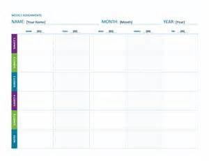 Assignment Sheet Template by Weekly Assignment Sheet Color Landscape Office Templates