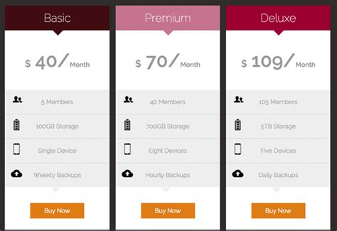 Modern Responsive Html5 Css3 Pricing Tables Template Free Download Pricing Html Templates