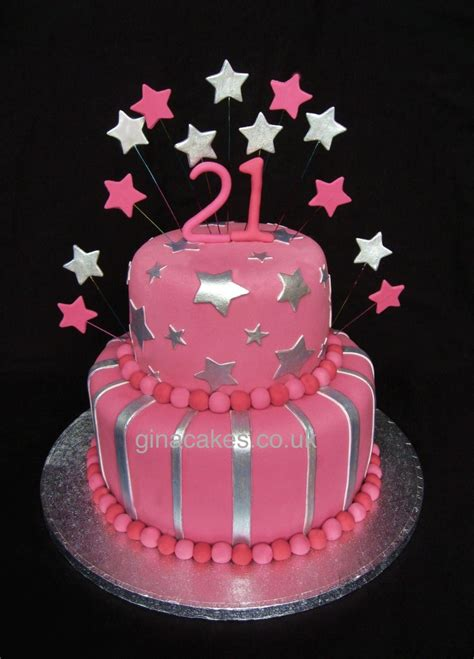 21st Birthday Cakes by 21st Birthday Pink Silver Stripes Cake