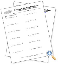 Multi Step Equations Worksheet Variables On Both Sides by Solving Multi Step Equations Worksheet 8th Grade Math