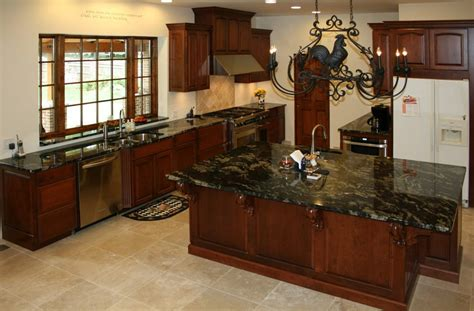 Cherry Wood Kitchen Cabinets With Black Granite Cherry Wood Kitchen Cabinets With Black Granite Brown Wooden Laminate Flooring Wooden Dining
