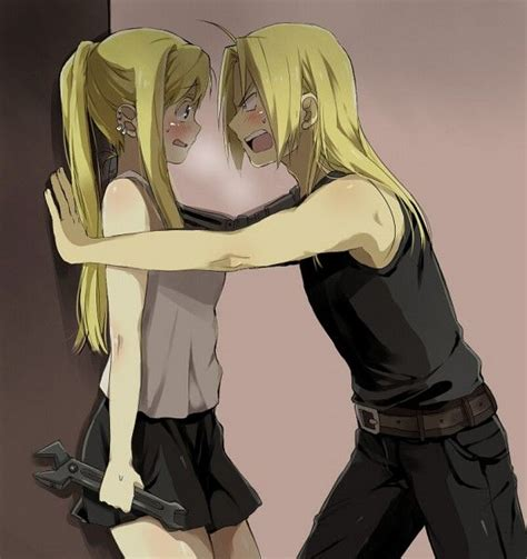 fullmetal alchemist brotherhood edward and winry kiss edward elric and winry rockbell edward and winry