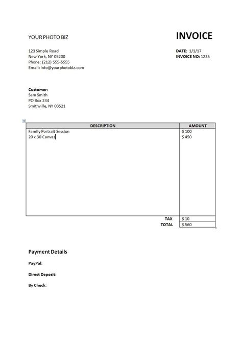 Simple Invoice Template Biblino Easy Invoice Template Free