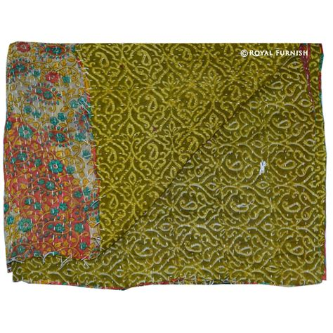 Quilt Throw by Multicolor Vintage Kantha Reversible Quilt Throw