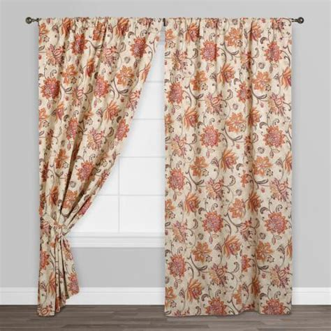 coral pink curtains coral pink floral eva concealed tab top curtains set of