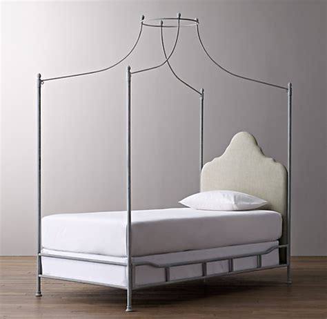 iron canopy bed allegra iron canopy bed sand belgian linen