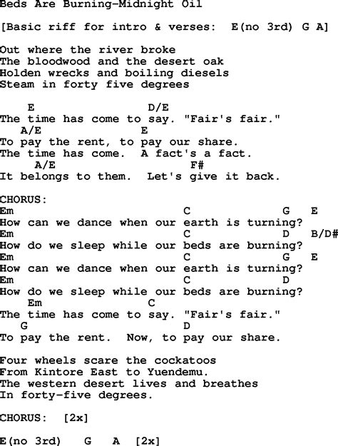 beds are burning lyrics protest song beds are burning midnight oil lyrics and chords quot