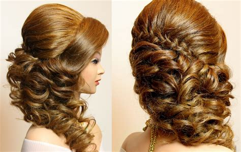 hairstyles for curly long hair youtube curly prom wedding hairstyle with braid for long hair