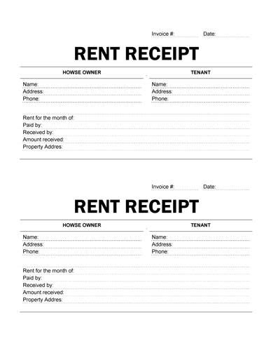 Exle Of A Rent Receipt Template by Printable Rent Receipt Free Receipt Template By Hloom