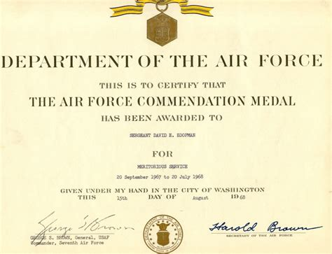 air force commendation medal exle