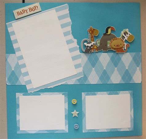 baby boy scrapbook page premade by swakscrappin on etsy