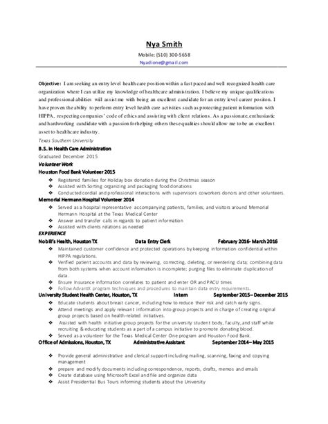 Resume Objective Entry Level Healthcare nya smith health care administration resume 2016