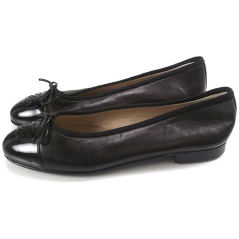 New Chanel Balerina Flat Patent Leather Black chanel patent leather tip ballerina flats 35 5 black 13342