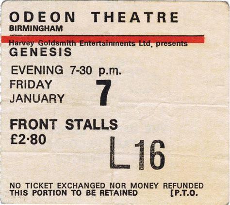 genesis tickets genesis ticket the odeon theatre birmingham 7th