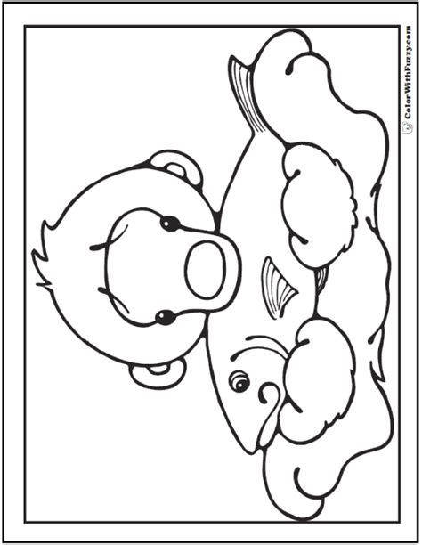 bear coloring page pdf cute polar bear with fish coloring page bear coloring