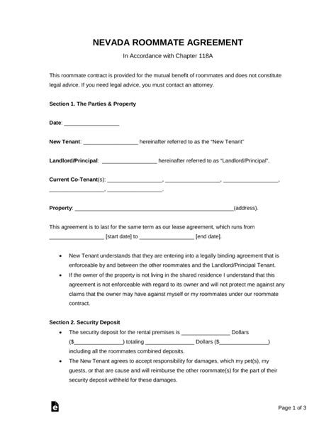 Free Nevada Roommate Agreement Template Word Pdf Eforms Free Fillable Forms Free Nevada Will Template